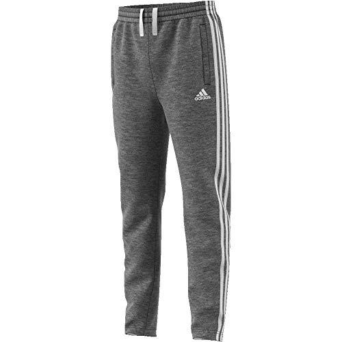 adidas Jungen 3 Stripes French Terry Hose Dark Grey Heather/White, 128