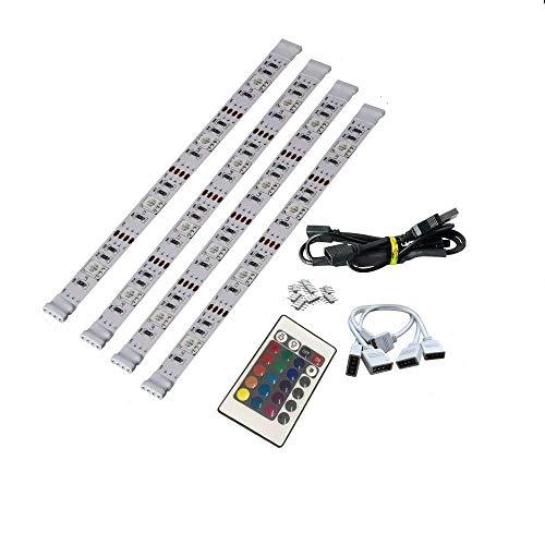 Brtlx led tv retroilluminazione striscia kits 4x50cm per hdtv home theater accento illuminazione usb alimentato rgb 5050 smd multi colorato con 24 chiavi telecomando