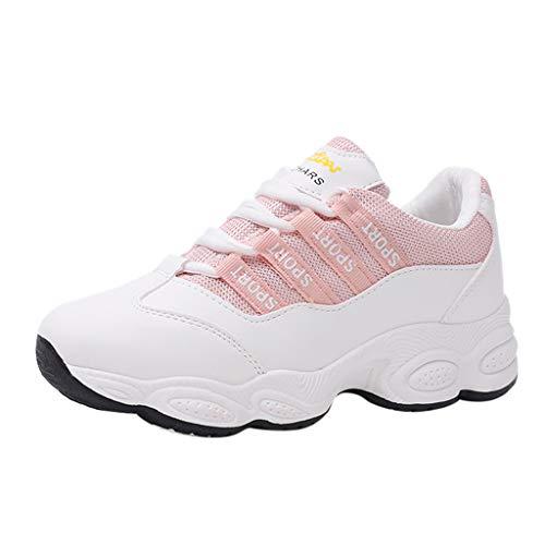 MRULIC Damen und Mädchen Schule Laufschuhe Mode Runde Spitze Atmungsaktive Schnürschuhe Turnschuhe Mittlere Ferse Weiße Schuhe(Rosa,40 EU) -