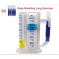 LLQ Espirómetro, Ejercitador pulmonar de respiración Profunda | Sistema de medición de la respiración Lavable e higiénico, Instrumento Abdominal de Tres Bolas