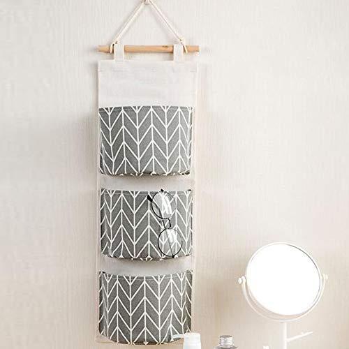 Bolsa de almacenamiento colgante, LeRan impermeable puerta del organizador de la puerta del armario bolsas de armario con 3 bolsillos (gris)
