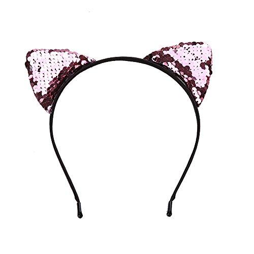 YWLINK Damen Mädchen Süß Pailletten Katzenohr Schmuckstück Haarband Urlaub ()