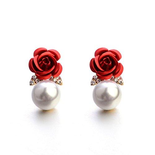 Bijoux Femmes, Toamen Boucles d'oreilles Bohême Fleur Strass perle Rose Style d'été Mode (Rouge)