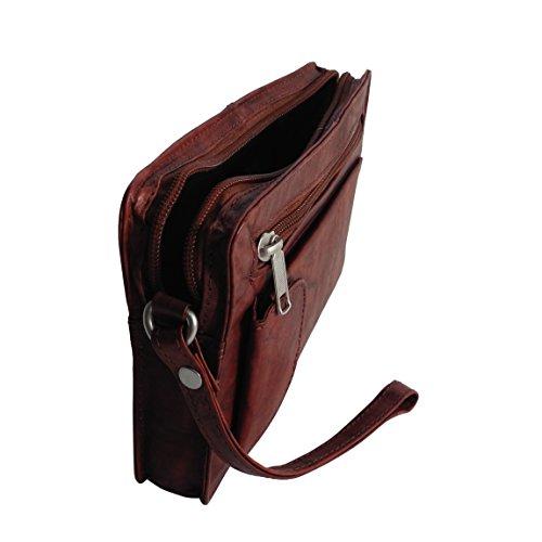 Bag Street Leder - exquisite Leder Herren Handgelenktasche , Herrentasche , Handtasche , Handgepäck-Tasche ( Braun - Doppelkammer ) - präsentiert von ZMOKA® Braun Einzelkammer