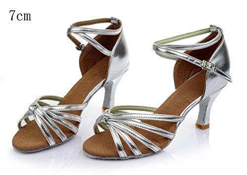 VESI - Damen schuhe Standard/Latein 5cm/7cm Absatz Silber Knoten 37 - 2