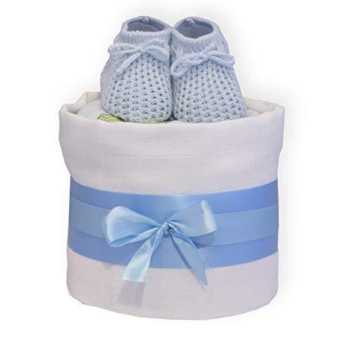Baby 1 Tier Windel Torte - Farbauswahl - ein Tier - Baby-Dusche Geschenk Jungen Mädchen Unisex Enthält Windeln, Baumwolle Musselin & Latz und Babyschühchen - Blau (Co Baby-dusche Und Baby)