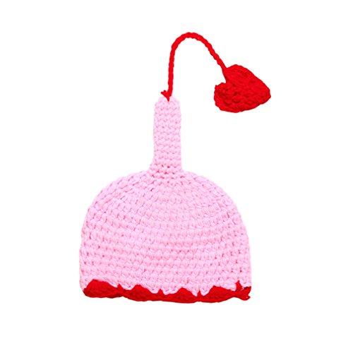 JTC Baby-Mütze Pudelmütze Strickmütze Handarbeit Strickarbeit mit herzgeformten Anhänger (Pink)