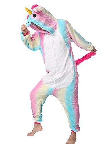 Tier Karton Kostüm Einhorn PyjamaTierkostüme Jumpsuit Erwachsene Schlafanzug Unisex Cosplay (XL(Höhe175-182CM), Helle (Kostüme Freund)