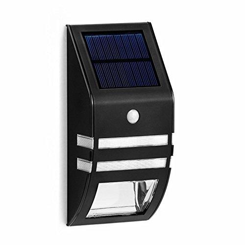 Solalite® Set von 4, Schwarz, kabellos, Solar-Licht, Garten-Wandleuchte mit PIR Bewegungsmelder mit 2LED-Nachtlicht, Sicherheit in der Weg-Farben für den Zaun, Garten Hof Weg zum Kind