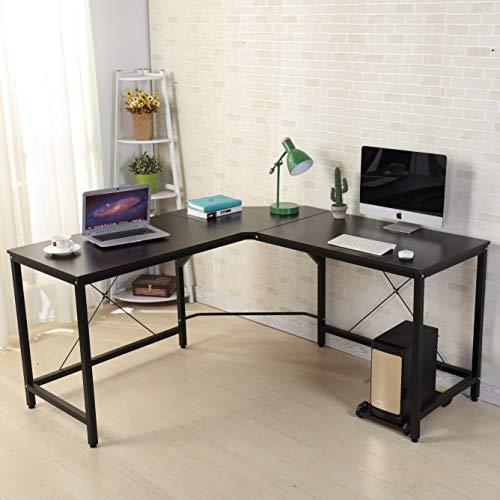 soges Computertisch L-Form Arbeitstisch Winkelschreibtisch Eckschreibtisch Schreibtisch mit CPU-Ständer,150CM + 150CM,Farbe in Schwarz -