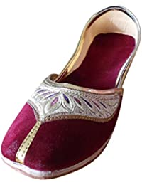 kalra Creations Mujer Tradicional hecha a mano Terciopelo con Bordado Indio étnico Slipper, color Rojo, talla 41 EU