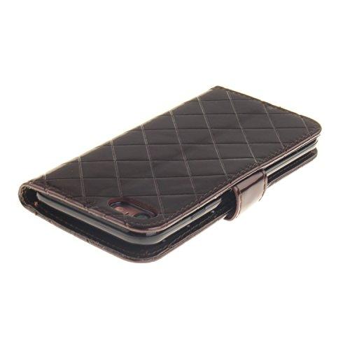 Wkae Case Cover Luxe haut de gamme en cuir PU style métal Grille fermeture magnétique flip stand Wallet Case Color Case Cover solide pour Apple IPhone 7 ( Color : Coffee , Size : IPhone 7 ) Coffee