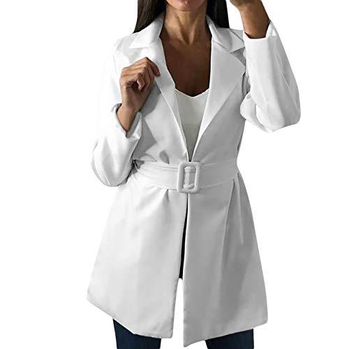 Damen Windbreaker Business Kostüme Blazer Mode Einfache Office Lady Revers Anzug Mantel Langarm Jacke mit Gürtel Lange Steppjacke Steppmantel