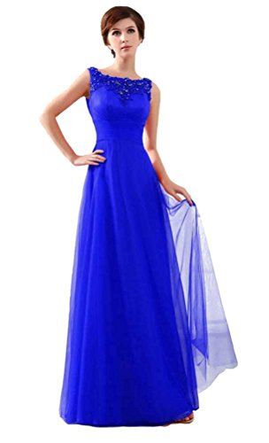 BeautyEmily O Neck Sleeveless Long Lace Formal Evening Dresses Mother of  the bride Dress Königsblau