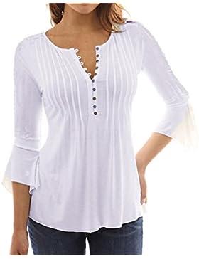 Tefamore Camiseta mujer elegante Botones Mangas largas Blusa Tops t shirt, Camisa primavera