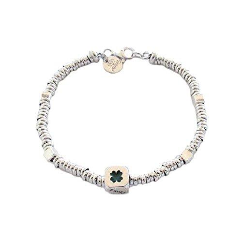 Armband Almas Schmuck in Silber mit Unterteilungen Strickgarn und Cubetto Kleeblatt mit Bad in Gold Gelb -