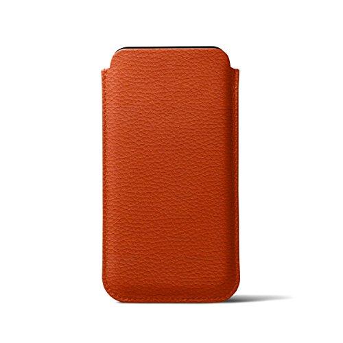 Lucrin - Klassische Schutzhülle für iPhone X - Schwarz - Leder genarbt Orange