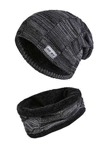 GG ST Beanie Mütze Schal Set Unisex Winter Knit Warmen Hut Skimütze Slouchy Strickmütze Skull Cap -