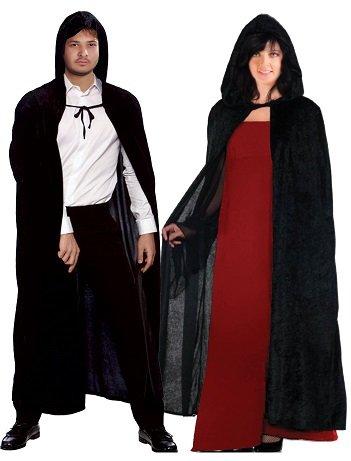 (Unisex Herren Damen Mit Kapuze Mantel Schwarz Velvet Vampir Devil)