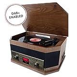 ION Audio Octave LP - Centro musical 8 en 1 con reproducción por Bluetooth, vinilo, CD, casete, reproducción/grabación USB, entrada auxiliar, radio DAB+/FM y altavoces incorporados
