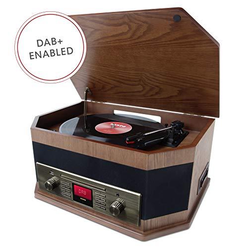 ION Audio Octave LP - Impianto Stereo dal Look Rétro, con Funzioni di Streaming Bluetooth, Giradischi a 3 Velocità, Lettore CD/Cassette, Riproduzione/Registrazione via USB, Ingresso Ausiliario