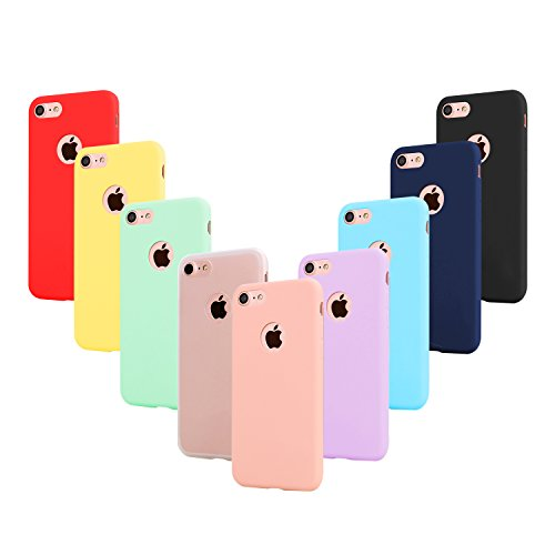 9 PCS × Coque iphone 7 Étui Silicone , Leathlux [Ultra Mince] Souple TPU Housse Protection Doux Gel Skin Coque pour Apple iphone...