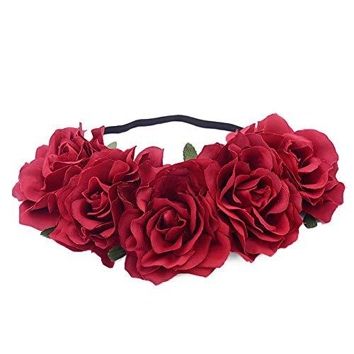 YouN süße Frauen Blume Krone Haarband Rose Stirnband Halloween Headwear (rot)