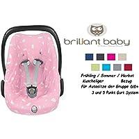 BriljantBaby BabyFit -- 100% Interlock -- Schonbezug / Ersatzbezug -- Frühling / Sommer / Herbst -- Universal Ersatz-Bezug für Babyschale z.B. für Maxi-Cosi Citi, Pebble, SPS, etc (Häschen Rosa)