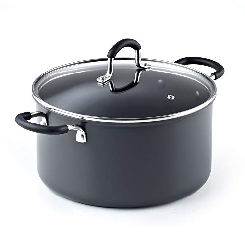 Cook N Home 02634 6QT/24CM Anodized Nonstick Casserole, 6Quarts, Black Wearever Non-stick