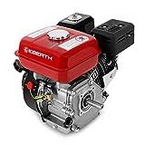 EBERTH 6,5 PS 4,8 kW Benzinmotor Standmotor Kartmotor Antriebsmotor Austauschmotor (3/4 Zoll 19,05 mm Ø Welle, Ölmangelsicherung, 1 Zylinder Benzinmotor, 4-Takt, luftgekühlt, Seilzugstart) rot