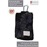Golla *** TOP PREMIUM *** Cell*Phone*Case / Case for iPhone SE/5S/5C/5/4S/4 with Snap Hook + Pocket Money + Bank Card Holder *** Top of the Top Quality *** (Black Firenze)