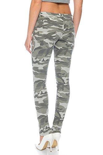 Boyfriend Baggy Jeanshose mit schräger knopfleiste und Reißverschluß C 613 Camouflage