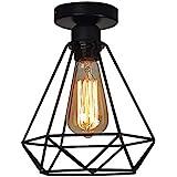Plafoniera Lampadario, Retro Vintage Lampada da Soffitto Industriale lampadario in metallo nero gabbia ferro con attacco E26/