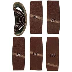 Lot de 10 bandes abrasives Premium 75 x 533 mm, 2 x grain 40,60,80,120,180 mélangés I Meuleuse à bande I 75 x 533 mm