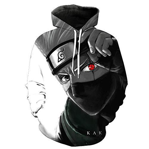 SZRXKJ Männer mit Kapuze Langarm Naruto KaKaWest Print Paar Pullover 3D Kapuzenpullis (XXXL,Grey)