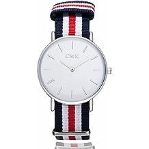 Amazomaniaco Reloj Pulsera Unisex Mujer/Hombre Cuarzo Correa de Tela/Nylon Elegante y Casual. Regalo de Navidad