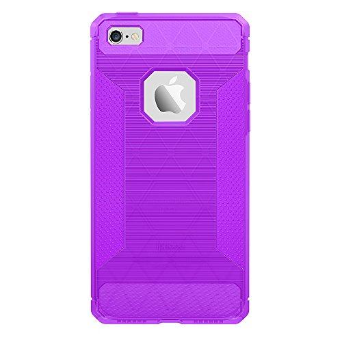 Moonmini® iPhone SE 5SE 5 5S Étui Coque Ultra Mince Énervé Coque de Carbone (Carbon Fiber) Brushed Texture Soft TPU Back Case Cover Antidérapant Coque Protector Shell (Gris Translucide) Violet
