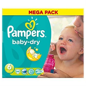 Couches Pampers Baby Dry taille 6Mega Pack 68par lot de 1