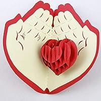 BC Worldwide Ltd Tarjeta popup 3D Tarjeta hecha a mano con amor en las manos palma cumpleaños, aniversario de bodas, San Valentín, propuesta de matrimonio, compromiso