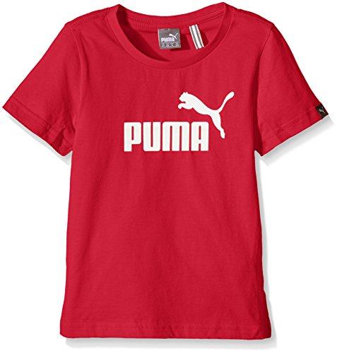 PUMA Kinder T-Shirt ESS Large Logo Tee B, Puma Red, 140, 831922 55 (Logo Ess Tee)