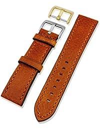 Piel auténtica correa para reloj con hebilla de oro y plata en tamaños de 18mm, 20mm, 22mm y 24mm en negro, marrón oscuro y marrón claro variaciones, Light Tan Leather, 20 mm