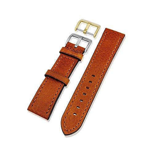 Echtes Leder Uhrenarmband mit Gold & Silber Schnalle in den Größen 18mm, 20mm, 22mm & 24mm in schwarz, dunkelbraun und hellbraun Variationen, Light Tan Leather, 20 mm
