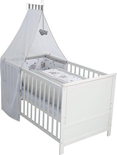 roba Komplettbett Set 'Jumbotwins', Babybett weiß mit Ausstattung, Kombi Kinderbett 70x140cm inkl. Bettwäsche, Himmel, Nest, Matratze