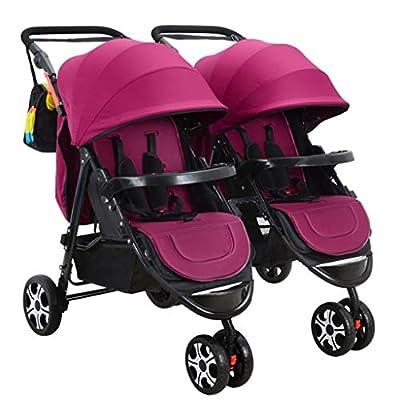 BABY STROLLER ZLMI Cochecito de bebé Gemelo Desmontable Doble triplete Multi-niño Cochecito Plegable Puede Sentarse 0-3 años de Edad