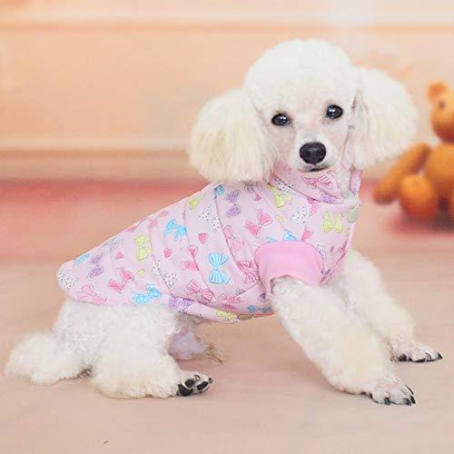 yiopk Haustier Hund Weste Weste Herbst und Winter Neue Cartoon Bogen Zweibeinige Kleidung Größe Hund Plus Baumwolle Weste - Baumwolle Plus Größe Kleidung