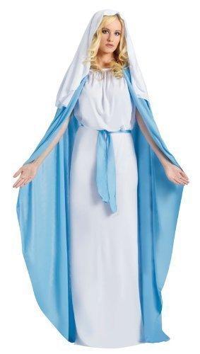 Damen Erwachsene Die Jungfrau Mary Weihnachten Krippenspiel Religiös Kostüm Kleid Outfit UK 6-14 (Religiöse Weihnachten Kostüme)