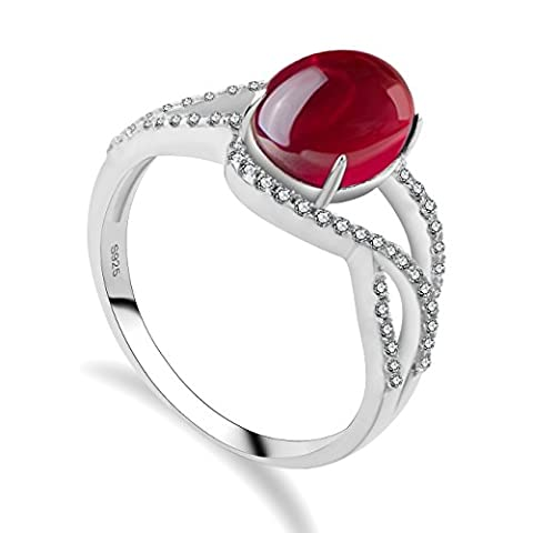GULICX Victorian Style Art Deco Style Red Big Opal Gemstone Ring 925 Sterling Silver Size O,Q,S,U