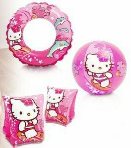Intex Hello Kitty Kids accessories Swimming Set - Set Includes: Swim Ring (Tube), Pair of Deluxe Arm Bands Tube and Beach Ball - For Kids Ages 3-6 by Intex
