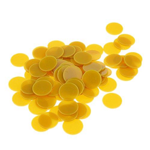 Sharplace 100x Bingo Chips Poker Chip Spiel Brettspiel Chips Kinder Spielzeug - 25mm - Gelbes Gold