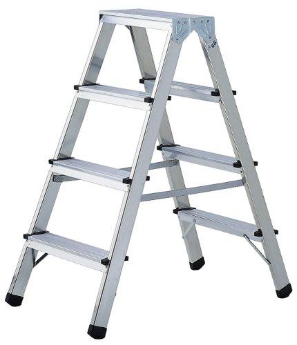 Brennenstuhl 1412040 Doppelstufenleiter Aluminium Handwerkerqualität 2 x 3 Stufen
